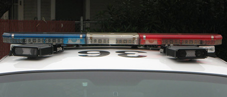 Cameras mounted on top of police cars allow the License plate recognition system to recognize plates.