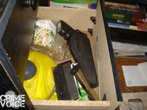 Loaded weapons were found on the premises.