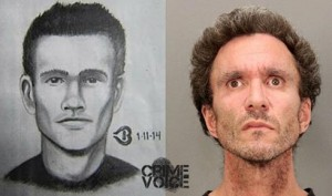 Preliminary sketch and booking photo of arson suspect William Patrick Brennan.
