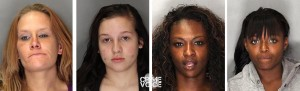 Some of the women arrested - Crystal Demasi, Destiny Miller, Gloriapril Johnson, Theodorsia George.