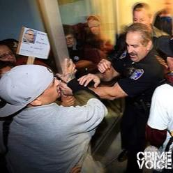 Godoy is arrested at one of the protests.