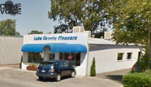 The pair were successful in doing damage and stealing property at Lake County Cleaners and Veronica's Jewelry Repair in this building.