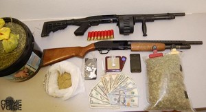 Evidence seized at the apartment included weapons, marijuana, meth, pills, and cash.