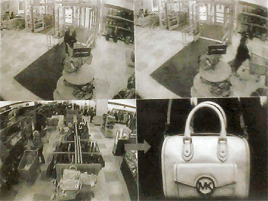 The two shoplifters were only interested in Michael Kors purses and wallets