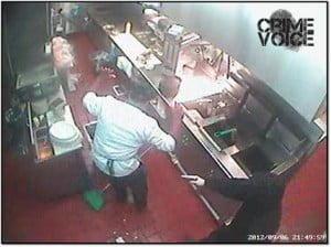 Chavira orders a restaurant employee to the ground