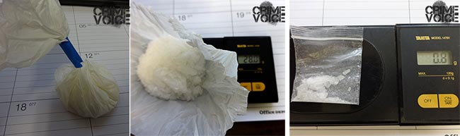 Two bags of Meth were found on Bond a larger ounce, opened, and a gram bag.