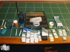 Various evidence confiscated from the house.