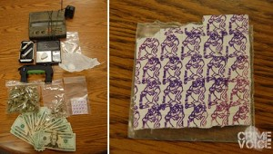 Seized evidence included suspected LSD (right)