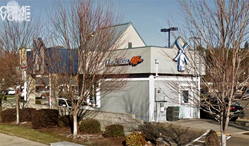 Dutch Brothers Coffee. Dial is accused of breaking the back door window shown above.