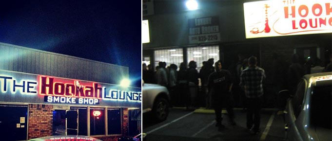 Two images of the Hookah Lounge in Sacramento.