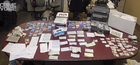Evidence collected in Gurba's arrest included credit cards, drivers licenses, and other documents.