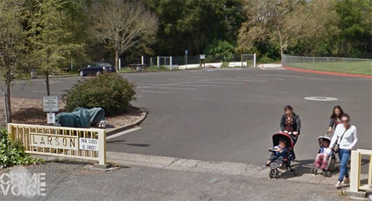 Moms enjoying Larson Park in a Google Maps image.  The park is adjacent to Flowery School.