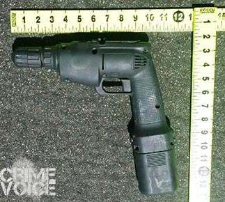 Police released this image of a power drill that was painted black and held as a weapon by the woman.