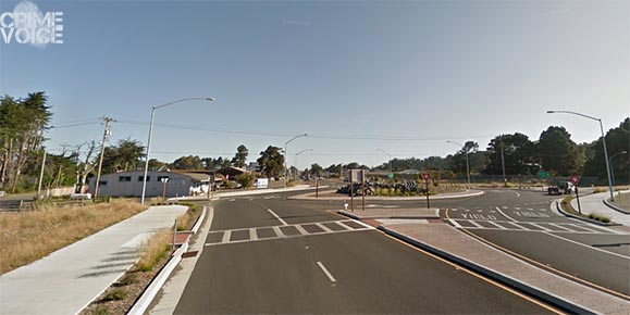 The Roundabout at Highway 1 & Simpson. Brockway veered far left rather than follow the round pathway.