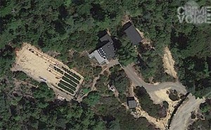An aerial view of the property on Roseman Creek shows evidence of possible marijuana cultivation (Google Maps)