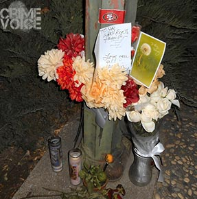 family memorial placed at scene