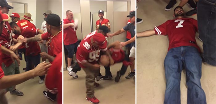 Still shots from You Tube video - Amador punches the first victim, both men attack the second victim, the first victim lies injured on the floor.