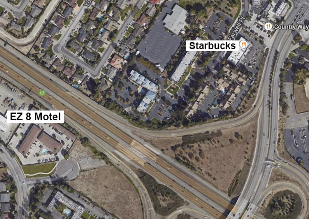 A Google Maps image shows the path from EZ8 to Starbucks over the I-880 Freeway.