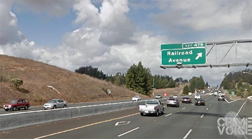 Highway 101 at Railroad Avenue.