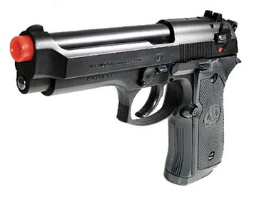 An Airsoft pistol looks and feels like the real thing without the red tip.