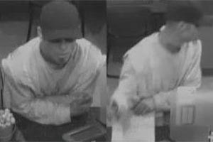 Images of the Chit Chat Bandit in the La Jolla Wells Fargo, wearing an orange reflector vest.