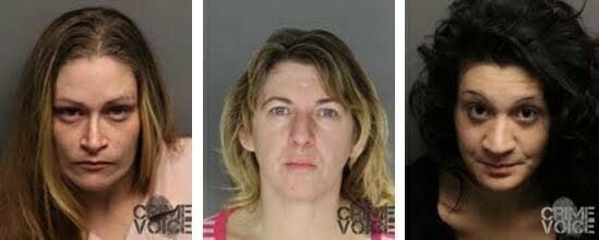 Tiffany Bancroft, Renee Fleenor, and Alyssa Batta, Placer County booking photos.