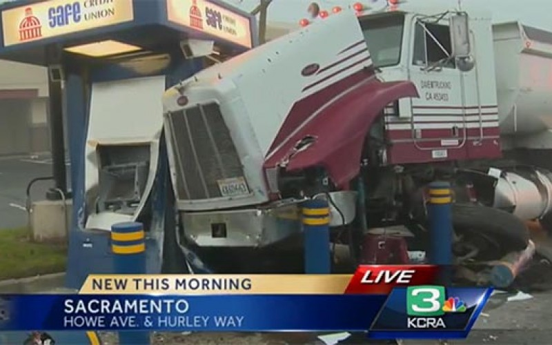 Dump Truck Slams Into ATM, Young Woman arrested for Grand Theft Auto