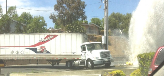 Big Rig Driver Hits Hydrant, Leaves 25-Foot Gusher, Gets Arrested For DUI