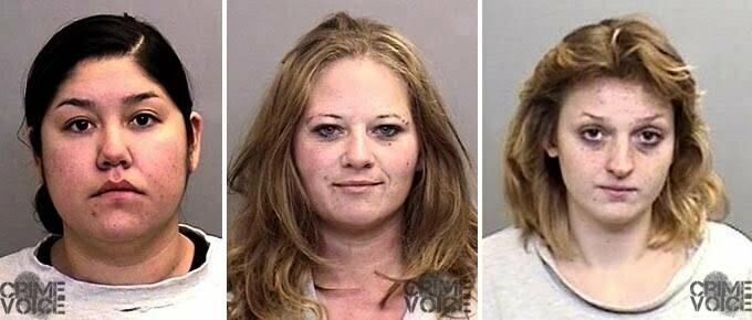 Ramona Kaler, Heidi Hinton and Sonya Gale Mendocino County booking photos.