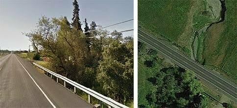 Two views of the Adobe Road bridge (Google Maps)
