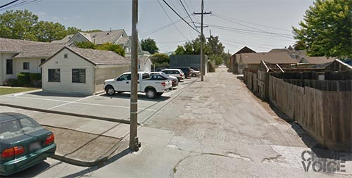 Wentz Alley, where the three were caught after a brief chase.