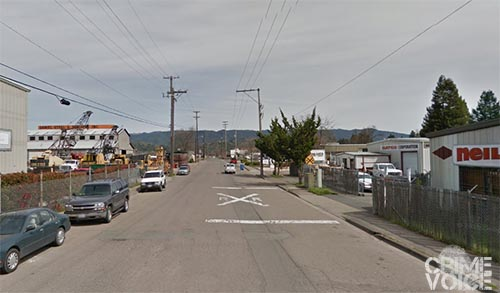 The victim and Taylor had a second encounter the next day in this industrial area.