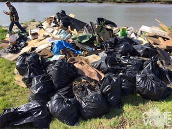 Debris was collected from the area for safe disposal.
