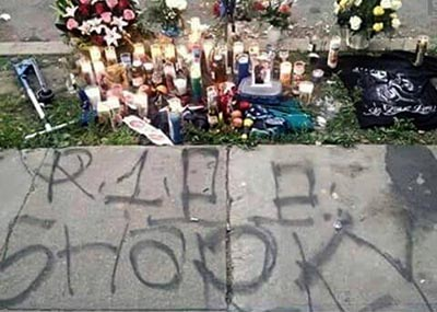 Friends and family set up a memorial for Luna at the location of his murder. (Facebook)
