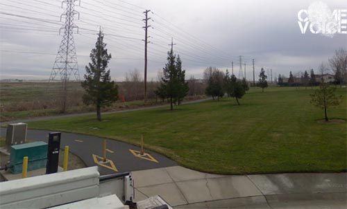 The entrance to the bike trail. Behind the park is a large area of undeveloped land.