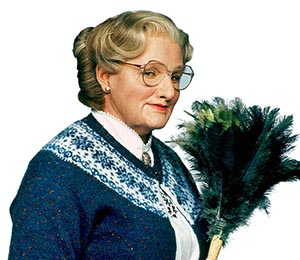 "The ""real"" Mrs. Doubtfire, Robin Williams in 1993 (20th Century Fox)"