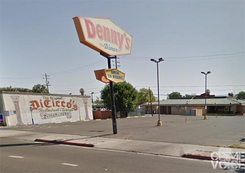 The victim was carjacked in this Dennys parking lot.