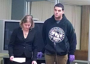 Kendall in court in New Jersey (Photo courtesy The Jersey Journal - Jonathan Lin)