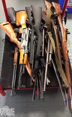 The weapons found at Barraza's home.