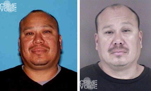 Patrick Barraza in a photo released when he was wanted, and his current booking photo. (Hollister Police)