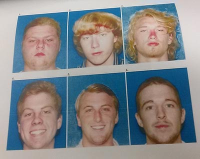 The victim viewed this photo lineup, and chose the top middle image, Kevin Kellogg.