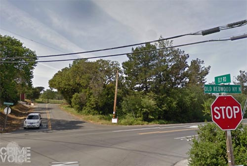 Ely Road and Old Redwood Highway, where the mysterious chase finally ended.