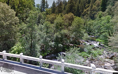 The South Fork of the Mokelumne River as it passes under Highway 26.