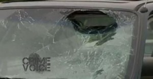 The stolen car's windshield