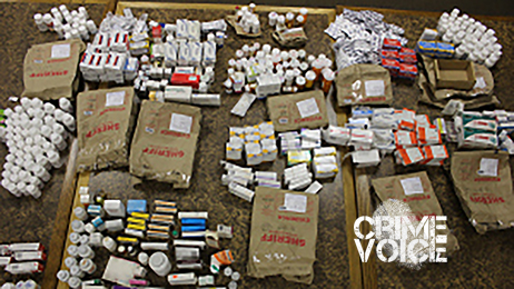 Police display some of the drugs found with Gammill