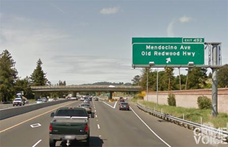 Eichelberger was spotted on Highway 101 near the Mendocino Ave. exit.