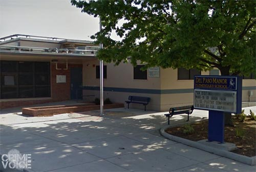 After a long foot chase, the two suspects gave up on a bench in front of Del Paso Manor School.
