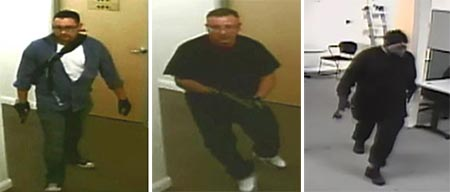 The three suspects caught in surveillance video. The man on the right has yet to be identified.