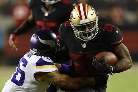 Carlos Hyde gained 168 yards in the victory over the Vickings.
