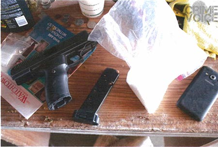 A semi-automatic pistol and crystal meth found at Chan's residence.